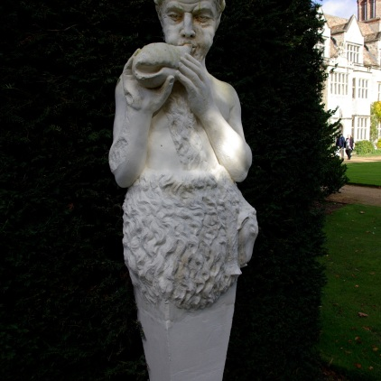 Statuary at the entry of the rose garden