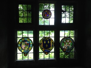 Upstairs window with crests