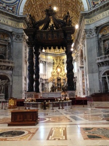 Baldacchino with the altar behind it.